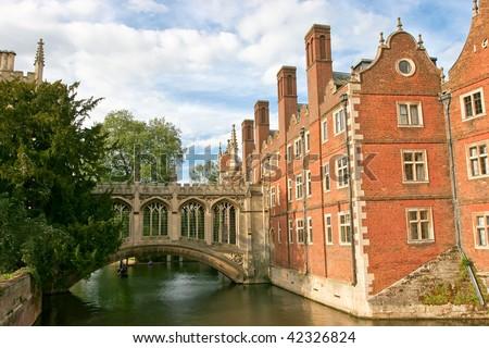 Bridge of Sighs is a covered bridge belonging in St John's College of Cambridge University in England UK - stock photo
