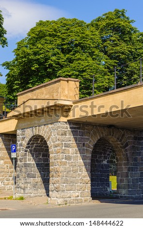 Bridge of the Akershus castle, Oslo, Norway - stock photo