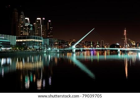 Bridge of the Woman (Puente De La Mujer) by night, Buenos Aires, Argentina - stock photo