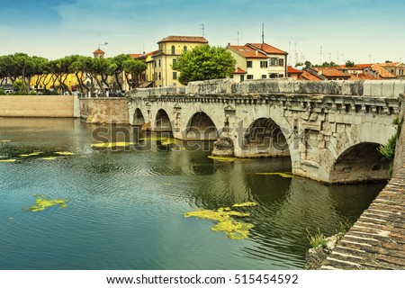 Bridge of Tiberius (Ponte di Tiberio) in Rimini, Italy. The Devil's Bridge (local legend). Bridge of Tiberius in Rimini.