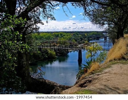Bridge on American River in Sacramento Area - stock photo