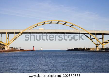 Bridge on Lake Freeway -  Milwaukee, Wisconsin. - stock photo