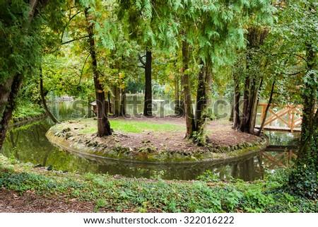 Bridge over a pond to island in the autumn botanical garden - stock photo