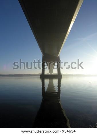 Bridge Over Blue water - stock photo