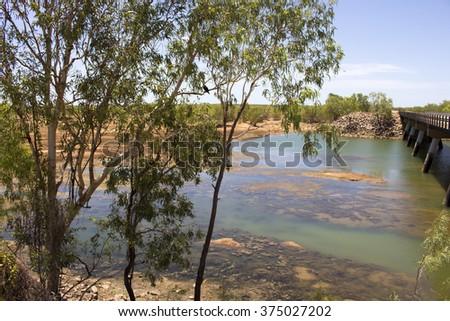 Bridge over Cockatoo Creek on the Great Northern Highway near Willare Crossing  - stock photo