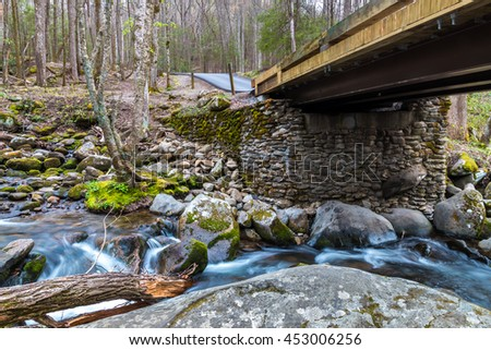 Bridge over forest creek with waterfalls. Great Smoky Mountains National Park, Tennessee, USA - stock photo
