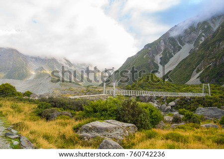 Bridge over Hooker River in Aoraki national park New Zealand