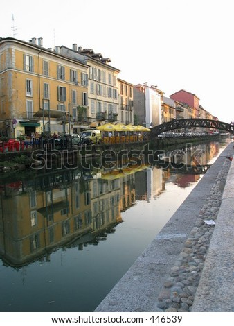 Bridge over Milan Canal - stock photo