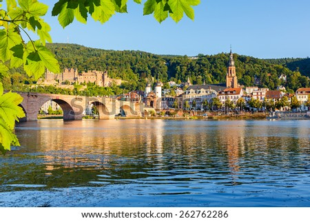 Bridge over Neckar in Heidelberg, Germany - stock photo
