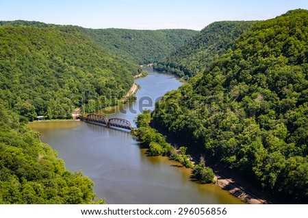 Bridge Over River at New River Gorge - stock photo