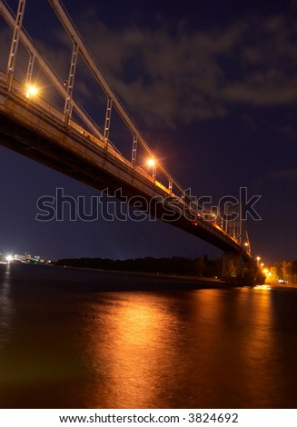 bridge over river in the night