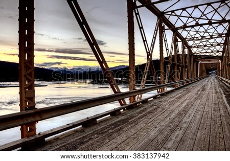 Bridge over Saskatchewan River Rocky Mountains Canada - stock photo