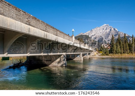 Bridge over the Bow River in Banff town site in Banff National Park, Alberta Canada.  - stock photo