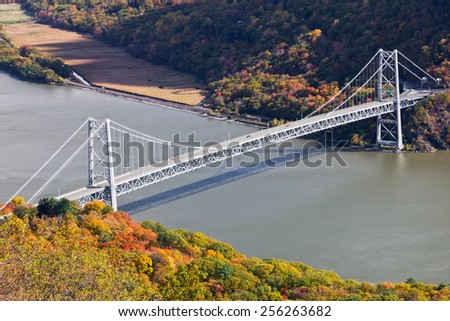 Bridge over the Hudson River in New York - stock photo