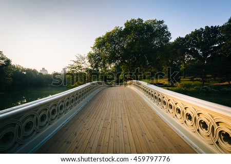 Bridge over The Lake, at Central Park, in Manhattan, New York. - stock photo
