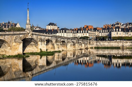 Bridge over the Loire River in Blois, France - stock photo