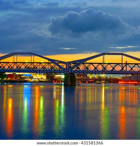 Bridge over the Neckar River, the city of Mannheim, Germany - stock photo