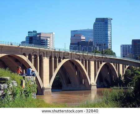 Bridge over the Potomoc River - stock photo