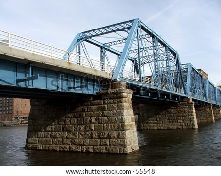 bridge over the river - stock photo