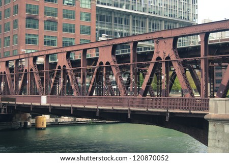 Bridge over the river - Chicago - stock photo