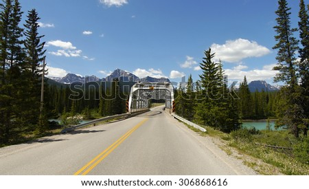 Bridge over the river in Canadian Rockies