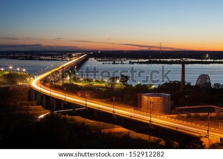 Bridge over the river in Khabarovsk - stock photo