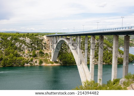 Bridge over the River Krka and the nature of Croatia - stock photo