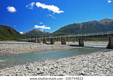Bridge over the river Waimakariri, Arthurs Pass national park, New Zealand