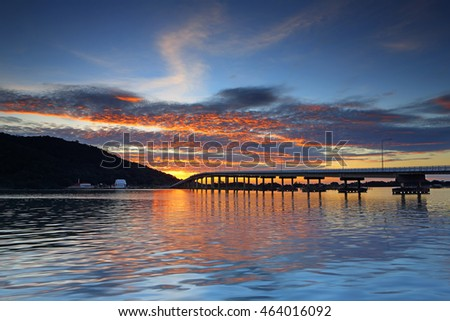 Bridge over the sea with beautiful sunset and cloudy sky background, The eastern part of Thailand