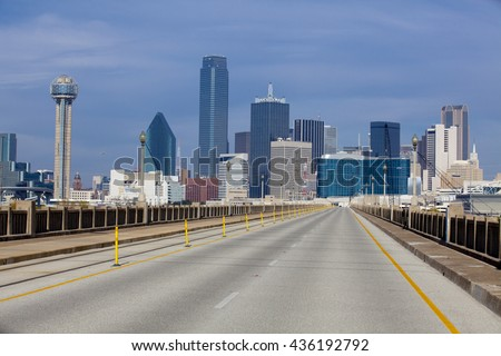 Bridge over the Trinity River to downtown Dallas, Texas with no cars - stock photo