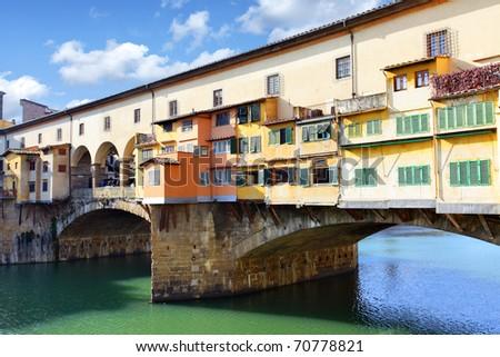 Bridge Ponte Vecchio over Arno river in Florence, Italy - stock photo
