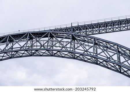 Bridge  projected by Gustave Eiffel in Porto, Portugal - stock photo