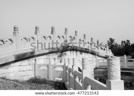 Bridge railings in ancient China, closeup of photo
