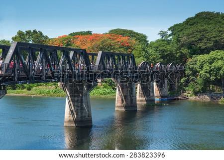 Bridge River Kwai, Kanchanaburi, Thailand . - stock photo