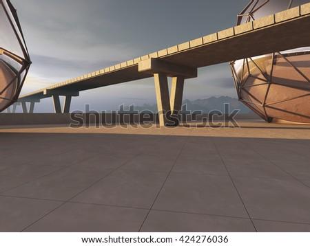 Bridge road and Highway with horizont line. 3D rendering - stock photo