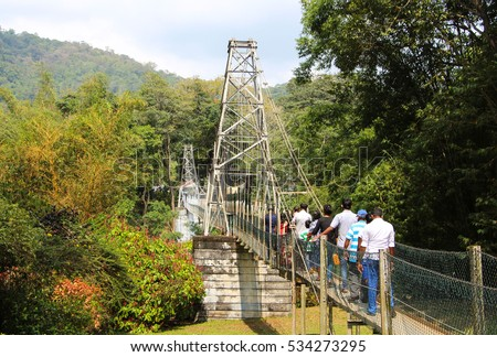 Bridge. Royal Botanic Gardens. Peradeniya. Kandy. Sri Lanka.