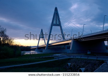 Bridge silhouette against twilight sky