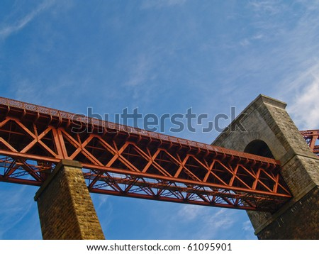 Bridge structure, low angle view of North Queens ferry Bridge. Scotland, UK. - stock photo