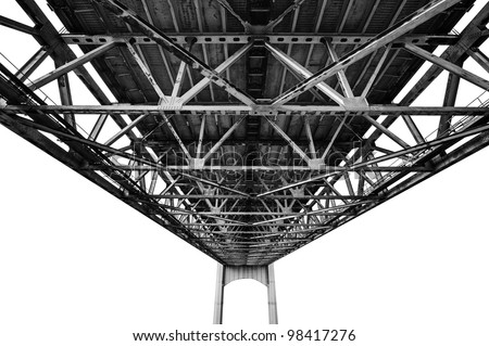 Bridge structure photographed from under. Black and white photography isolated on white background. - stock photo