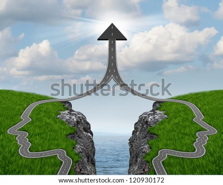 Bridge the gap and bridging the differences in two business partners over a financial cliff to merge for team success as a strong partnership with two head shaped roads merging as an upward arrow. - stock photo