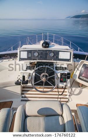Bridge VIP yacht. Travel Baikal. - stock photo