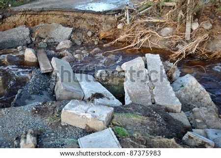 bridge washed away after floods in lacken county wicklow ireland - stock photo