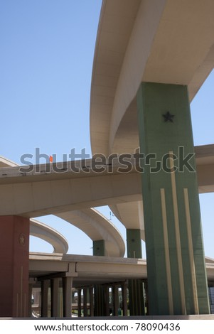 bridges and overpasses in the Dallas High Five interchange - stock photo
