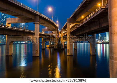 Bridges coming into one. - stock photo