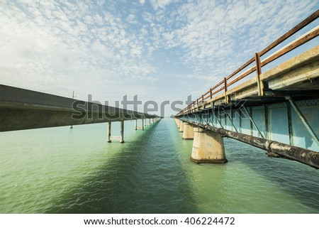 Bridges going to infinity. Seven mile bridge architecture landmark in Florida connecting Miami and Key West.