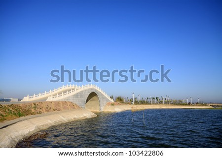 bridges in the lake water, in the blue sky, Hengshui city, hebei province, China