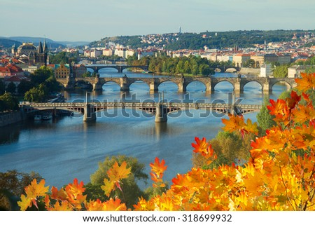 Bridges of Prague over VLtava river at fall day, Czech Republic - stock photo