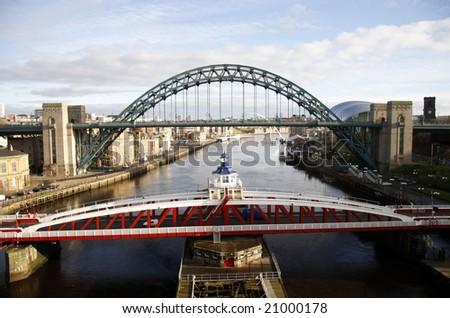 Bridges of the River Tyne - stock photo