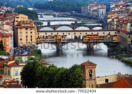 Bridges over Arno River, Florence, Italy,Europe - stock photo
