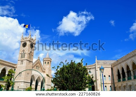 BRIDGETOWN, BARBADOS - OCTOBER 23: The parliament at October 23, 2014, Bridgetown, Barbados. Barbados is a beautiful Catibbean country with unique British-Caribbean architecture.  - stock photo